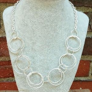 Silver open circle necklace